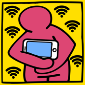 Keith Haring inspired pop art people cradle hugging baby babies smartphones tablets handphones telephones wifi signals wi fi wi-fi hot spots colorful rainbow satire parody parodies street culture pop culture modern abstract reinterpreted re-imagined reima