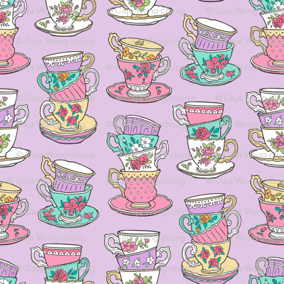 Stacked Tea cups with Vintage Roses Flowers on Lilac Purple