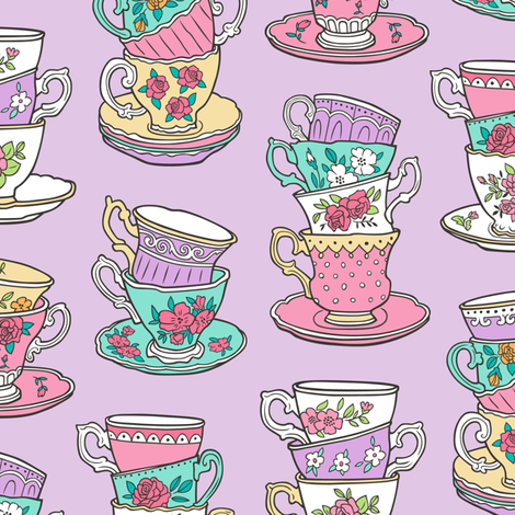 Stacked Tea cups with Vintage Roses Flowers on Lilac Purple fabric by caja_design on Spoonflower - custom fabric