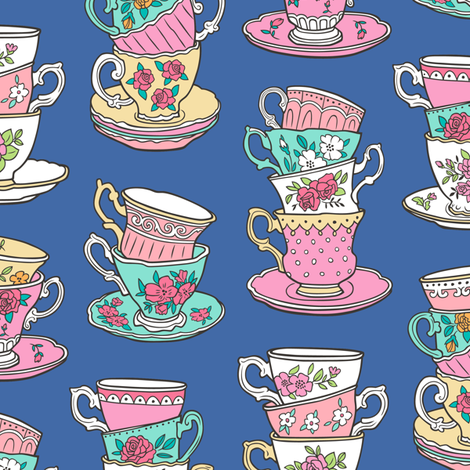 Stacked Tea cups with Vintage Roses Flowers on  Navy Blue fabric by caja_design on Spoonflower - custom fabric