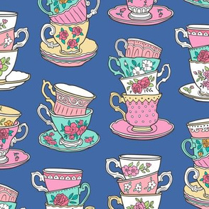 Stacked Tea cups with Vintage Roses Flowers on  Navy Blue