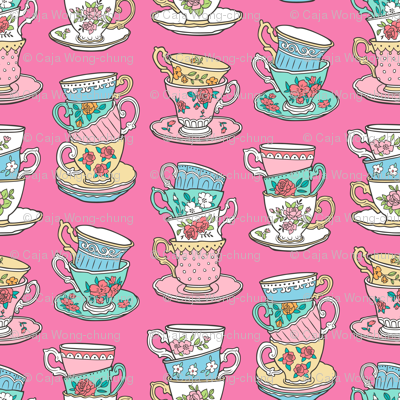 Stacked Tea cups with Vintage Roses Flowers on Dark Pink