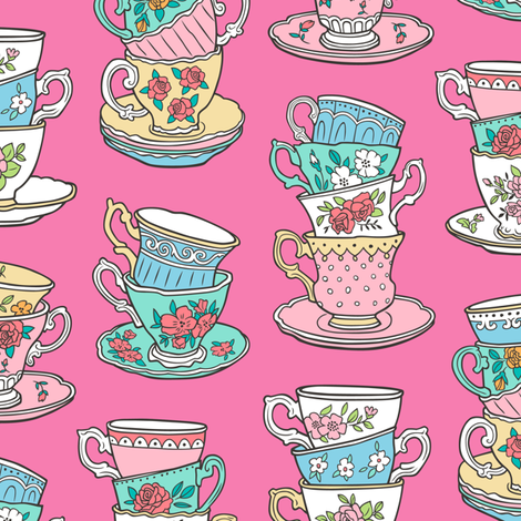 Stacked Tea cups with Vintage Roses Flowers on Dark Pink fabric by caja_design on Spoonflower - custom fabric