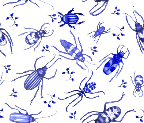 Cobalt Blue Watercolor Beetle Toile fabric by doda_smith on Spoonflower - custom fabric