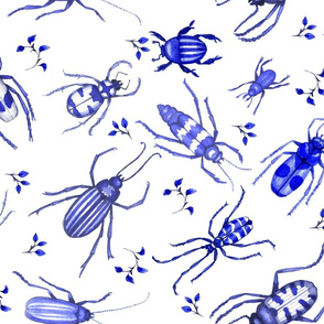 Cobalt Blue Watercolor Beetle Toile