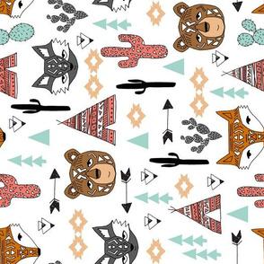 southwest baby nursery fabric // cactus tipi baby fox southwest nursery mint coral bear raccoon animals cute aztec tribal