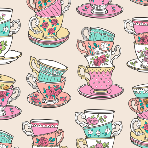 Stacked Tea cups with Vintage Roses Flowers fabric by caja_design on Spoonflower - custom fabric