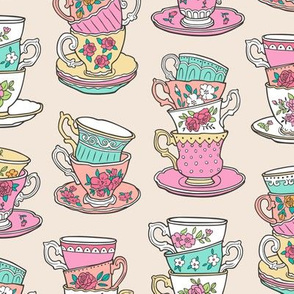 Stacked Tea cups with Vintage Roses Flowers
