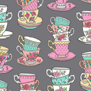 Stacked Tea cups with Vintage Roses Flowers on Dark Grey