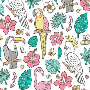 Summer Tropical Jungle Birds Toucan Flamingo and Pink Hibiscus Floral Flowers Leaves Paradise on White