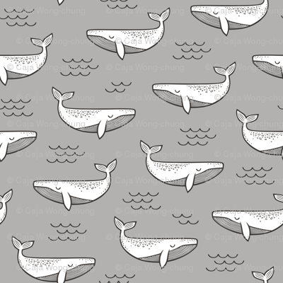 Whales on Grey 6 inches