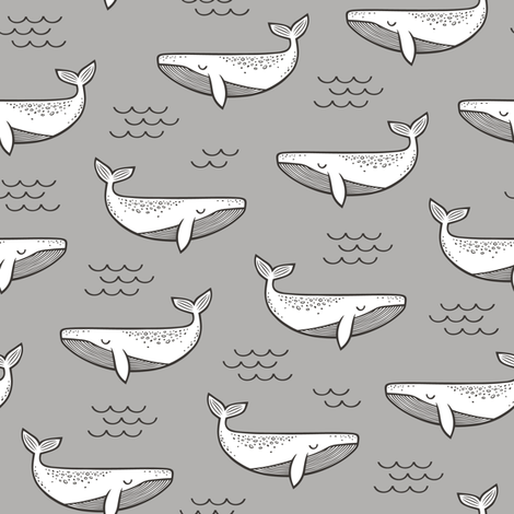 Whales on Grey 6 inches fabric by caja_design on Spoonflower - custom fabric