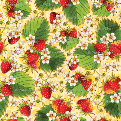 Watercolour Strawberries on Yellow