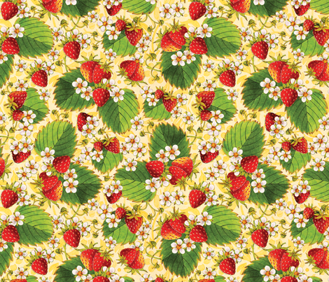 Watercolour Strawberries on Yellow fabric by patriciasheadesigns on Spoonflower - custom fabric