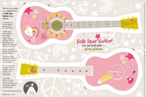 Folk Star Guitar play pillow fabric by cerigwen on Spoonflower - custom fabric