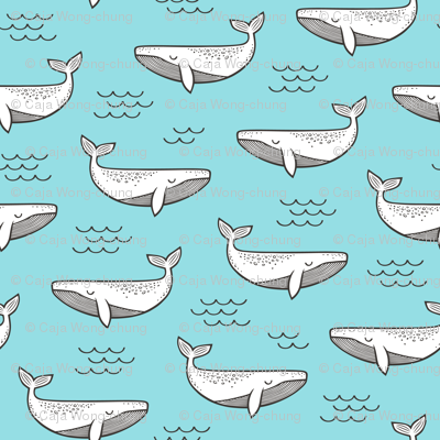 Whales on Paradise Blue