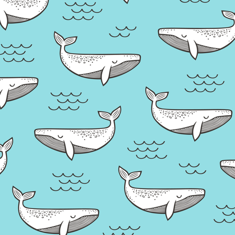 Whales on Paradise Blue fabric by caja_design on Spoonflower - custom fabric
