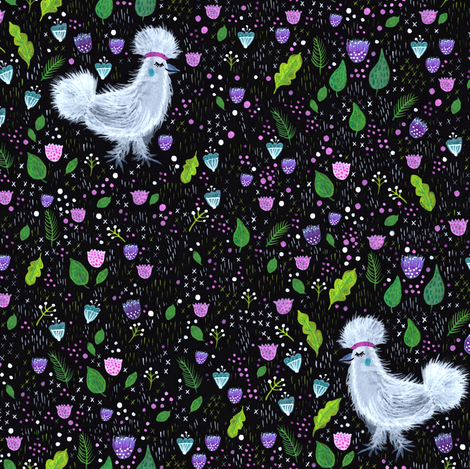 Glam Chicken fabric by jacquelinehurd on Spoonflower - custom fabric