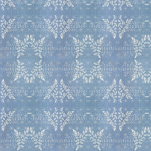 Indigo Denim Blue Damask