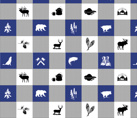 LG Wilderness Buffalo Check Animal BLUE fabric by outside_the_line on Spoonflower - custom fabric