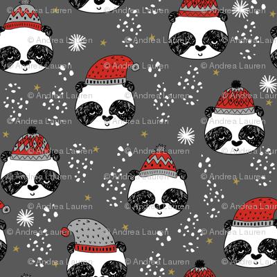 winter panda fabric  // winter holiday christmas design by andrea lauren cute panda fabric - grey