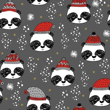 winter panda fabric  // winter holiday christmas design by andrea lauren cute panda fabric - grey fabric by andrea_lauren on Spoonflower - custom fabric
