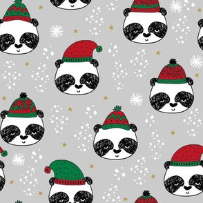 winter panda fabric  // winter holiday christmas design by andrea lauren cute panda fabric - grey and red
