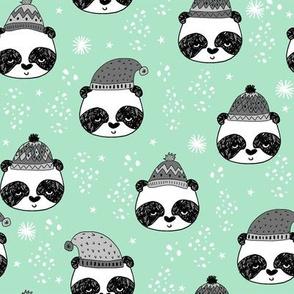 winter panda fabric  // winter holiday christmas design by andrea lauren cute panda fabric - grey and mint