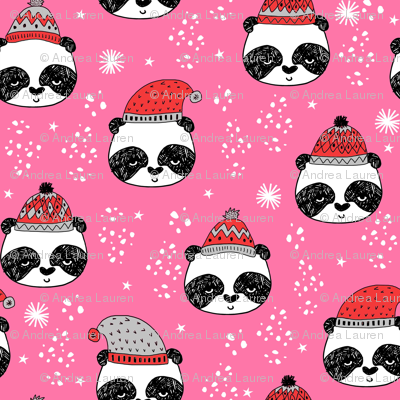 winter panda fabric  // winter holiday christmas design by andrea lauren cute panda fabric - pink and red