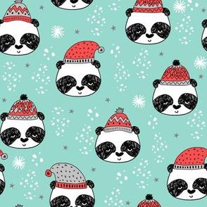 winter panda fabric  // winter holiday christmas design by andrea lauren cute panda fabric - lite blue
