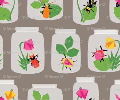Paper Bugs in Glass Jars Large