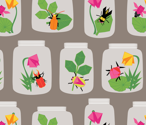 Paper Bugs in Glass Jars Large fabric by laine_and_leo on Spoonflower - custom fabric