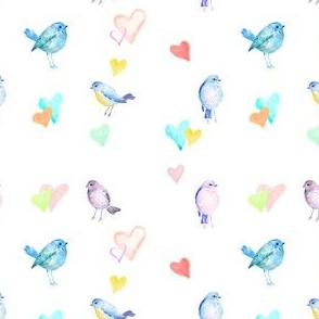 "4"" Baby Bird Pastel Hearts with Green Tones"