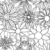 Chelsea (Color-Your-Own)    vintage 60s 70s enamel pin brooch flower floral garden pastel sheet illustration spring summer bouquet coloring book black and white
