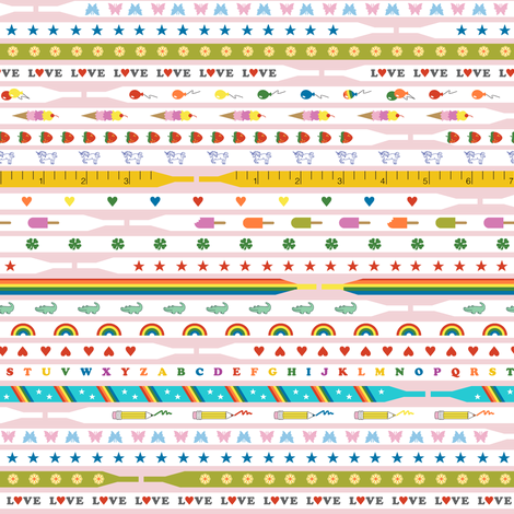 Ace Laces* (Rainbow Colors on Capote) || shoe shoes strings laces 80s retro fashion trendy popsicle shamrock four leaf clover star butterfly alligator rainbow heart balloon ice cream cone strawberry unicorn pencil pastel fabric by pennycandy on Spoonflower - custom fabric