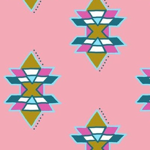 Modern Native Funky Mathmatical Geometric Pink Design