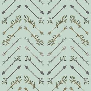 Twiggy Arrows Herringbone - Mint