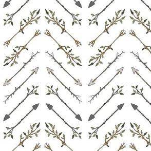 Twiggy Arrows Herringbone - White