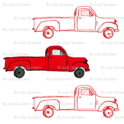 "8"" Vintage Red Trucks"
