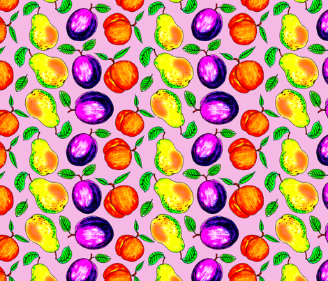 summer_fruits_on_pink fabric by leroyj on Spoonflower - custom fabric