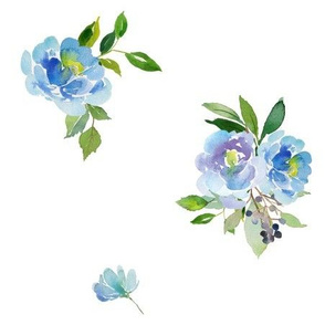 "9"" Blue Florals/ LESS FLORALS  / Floral Elephant Mix & Match"