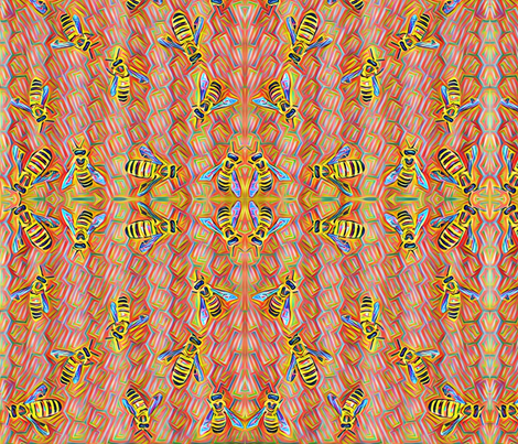 Colorful bees fabric by supersky on Spoonflower - custom fabric