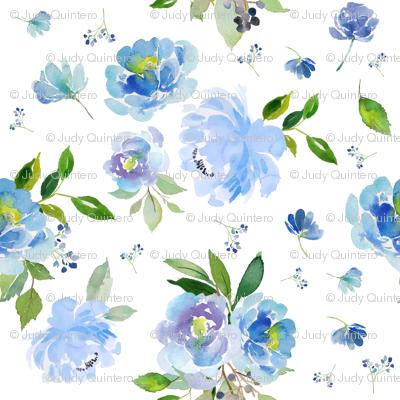 "9"" EXTRA Blue Florals / Floral Elephant"