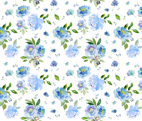 "9"" EXTRA Blue Florals / Floral Elephant fabric by shopcabin on Spoonflower - custom fabric"