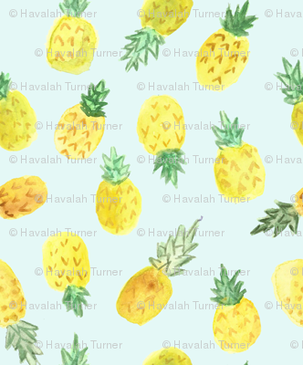 Watercolor_pineapples_mint
