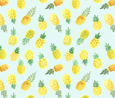 Watercolor_pineapples_mint fabric by sisterswhatfabric on Spoonflower - custom fabric