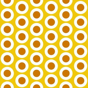Mustard + white buttonsnaps or polka dots on yellow by Su_G