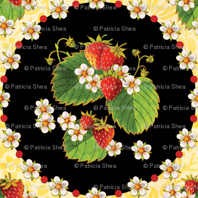 Strawberry medallions on yellow