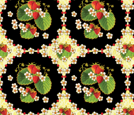 Strawberry medallions on yellow fabric by patriciasheadesigns on Spoonflower - custom fabric