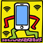 Keith Haring inspired pop art tablets smartphones handphones telephones wifi signals wi fi wi-fi hot spots social media street culture anthropomorphic satire parody parodies pop culture modern abstract reinterpreted re-imagined reimagined wireless local a